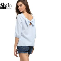 Like and Share if you want this  SheIn Blue Striped Round Neck Three Quarter Length Sleeve Bow Back Casual Blouse     Tag a friend who would love this!     FREE Shipping Worldwide | Brunei's largest e-commerce site.    Buy one here---> https://mybruneistore.com/shein-womens-blouses-for-summer-ladies-2016-blue-striped-round-neck-three-quarter-length-sleeve-bow-back-casual-blouse/