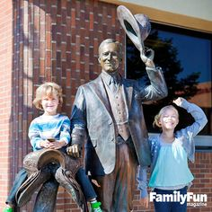 Spread over more than five square blocks in downtown Rapid City, South Dakota, the City of Presidents features life-size bronze statues of all 42 past presidents, depicted in ways that invite interaction. Calvin Coolidge, for example (shown), doffs his hat beside an empty saddle ripe for climbing.