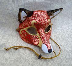 Maskerade Kostüm Fasching Halloween  venezianischen Fox Ledermaske...