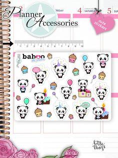 Sticker - Geburtstag Sticker Kawaii Panda Stickers NR781 - ein Designerstück von PlannerAccessories bei DaWanda