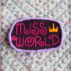 Miss World Hole Inspired Embroidered Sew On Patch by radboutiqueuk