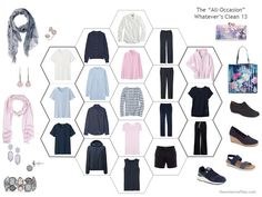 an 18-piece travel capsule wardrobe in navy, pink and blue
