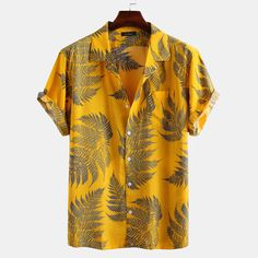 Mens Leaf Printed Chest Pocket Turn Down Collar Short Sleeve Casual Loose Shirts - Mathilda Loose Shirts, Mens Short Sleeve Shirts, Mens Printed Shirts, Short Sleeves, Leaf Prints, Cotton Shorts, Printed Cotton, Mantel, Casual Shirts