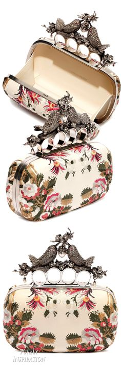 Alexander McQueen Floral Embroidery Bird Knuckle Clutch Spring Summer 2016 | Purely Inspiration