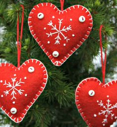 Christmas Felt  Heart Ornaments, set of 3. Embroidered  snowflake decorations.