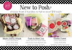 Want an affordable way to get acquainted with Posh?  Try one of these!  The Posh to Meet You set changes with each new catalog. www.poshbybell.com
