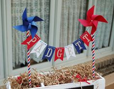 July 4th of July Pinwheel Cake Topper Birthday Wedding Baby Shower Pinwheel Centerpiece Decor Red Blue White Stripe Patriotic Banner Pennant