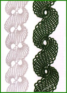 Beautiful Crochet Trims with charts. Unusual design. Beads at the edge are a feature of the darker trim pictured. Wonderful idea for evening wear!