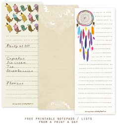Free Printable Notepads / Lists from A Print A Day - Home - Creature Comforts - daily inspiration, style, diy projects + freebies