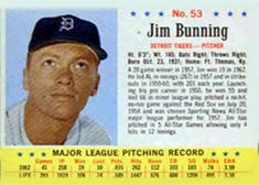1963 Post Cereal #53 Jim Bunning | The Trading Card Database Trading Card Database, Detroit Tigers, Trivia, Baseball Cards, Cereal, Popular, Ebay, Quizes, Popular Pins