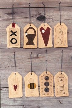 Wooden Spool With Love tags The Pattern Hutch wool applique Christmas tree ornies ornaments
