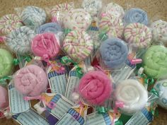 Baby washcloth lollipops...great gift idea!