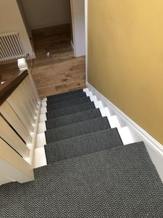 To supply & install dark grey carpet with whipped edges to stairs. Grey Hallway, Gray Stairs, Herringbone Sisal Carpet, Dark Grey Carpet, Blue Carpet, House, Carpet Fitting, Textured Carpet, Carpet Staircase