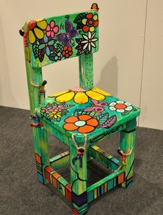 33 Ideas For Art Deco Furniture Chair Paintings Hand Painted Chairs, Whimsical Painted Furniture, Painting Wooden Furniture, Decoupage Furniture, Art Deco Furniture, Funky Furniture, Upcycled Furniture, Furniture Makeover, Chair Painting