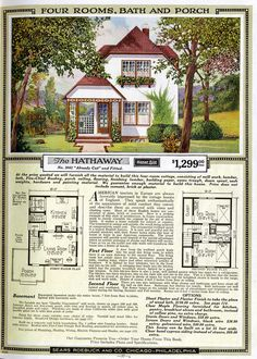 Sears Catalog Homes (sold under the Sears Modern Homes name) were catalog and kit houses sold primarily through mail order by Sears, Roebuck and Company, an American retailer. The Plan, How To Plan, Sims House Plans, Small House Plans, Cottage Floor Plans, House Floor Plans, Sears Catalog Homes, Casas The Sims 4, Vintage House Plans