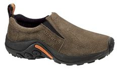 Merrell Men's Jungle Moc Slip-on Gunsmoke Size 9 W, Black Mens Slip On Shoes, Jungles, Cool Boots, Sport Fashion, Comfortable Shoes, Fashion Boots, Shoes Online, Suede Leather, All Black Sneakers