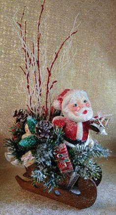 Traditional Christmas Sleigh w/ Vintage Gurley Candle Vintage Santa HANDMADE