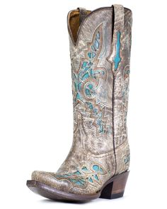 Lucchese Women's Carthage Lazer Design Boot - Desert with Turquoise Inlays