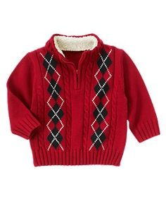 Argyle Cable Half Zip Sweater