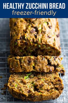 Healthy zucchini bread is perfectly moist, slightly sweet, with bites of chocolate chips and walnuts. With no refined sugar, just a touch of coconut oil, and whole wheat flour, it's a healthier treat to enjoy with a cup of coffee. Healthy Chips, Healthy Treats, Freezer Chicken, Freezer Meals, Zucchini Bread, Healthy Zucchini, Crockpot Recipes, Snack Recipes, Lunch Meal Prep