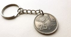Coin keychain, Soccer keychain, World cup 1982, Sports keychain, Soccer, Men's Gift, Men's accessory, Coin charm, Spain, Coins, Sports, 1980 by CoinStories on Etsy
