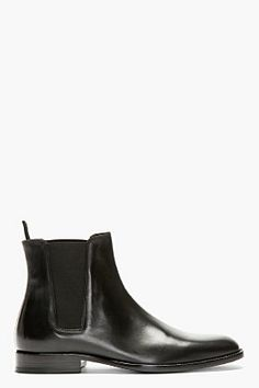 SAINT LAURENT Black Leather Chelsea Boots