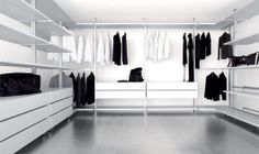 walk-in wardrobe, three sided in lacquered white. The adaptor kits allows fastening to the wall, sloped ceiling or drywall ceiling.