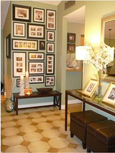 picture frame arrangement - this one might be too busy for me