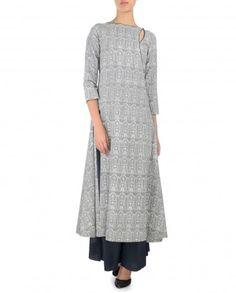 Powder Blue Printed Angrakha Suit by Anju Modi