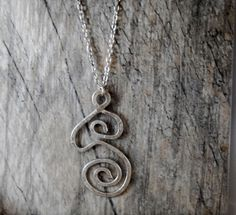 Big Swirl Hammered Aluminum Pendant with Silver Chain by Ladyjscreative on Etsy