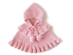 Baby Girl Knit Pink Sweater Toddler Alpaca Hooded by KnittName Poncho Crochet, Pull Crochet, Custom Capes, Crochet Capas, Pull Bebe, Baby Girl Sweaters, Hooded Poncho, Romantic Outfit, Pink Sweater
