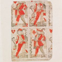 Part of an uncut sheet of woodblock printed playing cards, by Gilles Savoure, Lyon, France, 1490-1500. Museum no. E.988-1920
