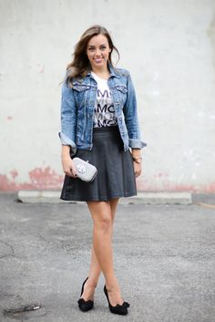 Sharing My Sole - Copy Cat - denim jacket, black skirt, graphic tee style