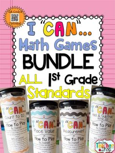 """A Complete Bundle of 1st Grade """"I CAN"""" math games! Covers ALL Common Core Standards of FIRST grade MATH! Perfect for Math Centers & Test Prep! With QR codes! Paid"""