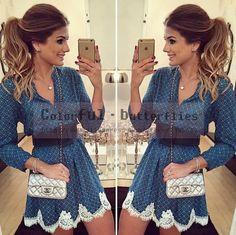Barato A nova primavera 2015 mulheres vestido de verão mini vestido geométrico de manga comprida vestido de decote vestidos, Compro Qualidade Vestidos diretamente de fornecedores da China:                  Tamanho (cm)                S                M                L                XL               B