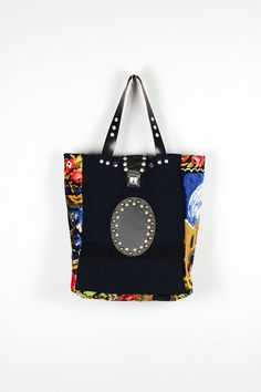 Gray Tote Bag Upcycled Vintage Military Fabric by NeroliHandbags