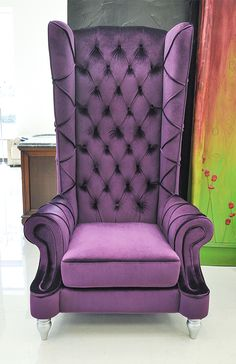 Baroque High Back Chair - Purple Chair