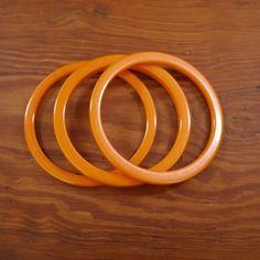 Set 3 Vintage Mid Century Butterscotch Amber Plastic Celluloid Bangle Bracelets #Unbranded