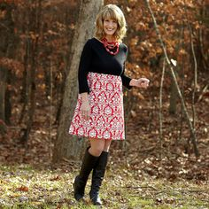 Ladies Black Red Damask Knit Olivia Dress – Lolly Wolly Doodle