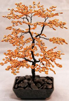 Orange Beaded Bonsai