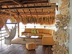 Beachside Cabana with thatched roof - Our Favorite Designer Outdoor Rooms on HGTV Outdoor Seating, Outdoor Rooms, Outdoor Living, Outdoor Decor, Outdoor Patios, Outdoor Kitchens, Outdoor Lounge, Cabana, Porches