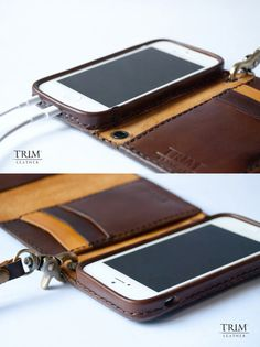 iPhone 5 5s leather wallet with double snap buttons by TRIMleather $109
