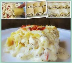 Chicken bacon cheese lasagne roll ups