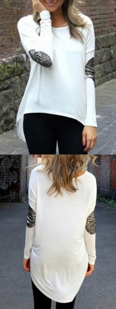 White High Low Sequins Patched Long Sleeve T-shirt