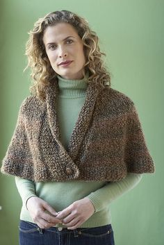 Free knitting pattern for Library Capelet -  Lion Brand Yarn's design features a seed stitch panel and border with a folded collar.