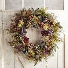 "Glittered Multicolor Pinecone Oversized 28"" Wreath"