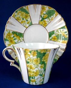 Cup And Saucer Yellow Primroses Panels 1920s Royal Albert Crown Teacup
