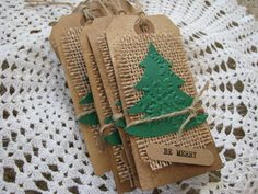 Evergreen Christmas Tree Burlap Tags, Rustic, Handmade Tags, Country Christmas, Gift, Holiday, Favors, Be Merry, Vintage, Forest - Set of 6
