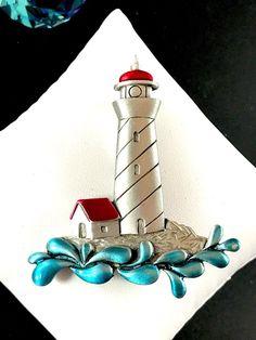 FABULOUS SIGNED JONETTE J.J. PEWTER RED AQUA BLUE ENAMEL LIGHTHOUSE BROOCH  | eBay
