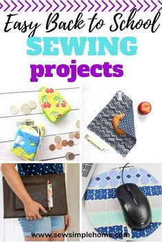 Make this school year unique with these simple sewing projects for back to school. Teen Sewing Projects, Christmas Sewing Projects, Sewing Projects For Beginners, Sewing For Kids, Free Sewing, Sewing Tutorials, Sewing Ideas, Easy Baby Sewing Patterns, Sewing School